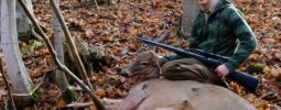 My son took a mature doe on the last day of his muzzleloader season. I'm proud of his tenacity and perseverance and making good decisions when the chips were down. He bleated twice at a group of deer to stop them in mid flight. He then closed the deal with his Knight Wolverine shooting  a 250 gr. copper Barnes bullet through the shoulder and both lungs.