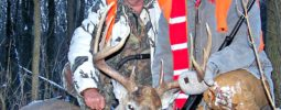 Larry Allen owner of Hubbard Creek Outfitters in Colorado came out to enjoy a Whitetail hunt with Rusty in Illinois. It was terrible cold and lots of snow. Larry is a very good shooter with his Knight Disc Extreme. I was in straw bale blind with Larry  and ranged this buck 4 times before Larry shot him. The range was 278yds, yes 278yds. One shot dead center and game over!