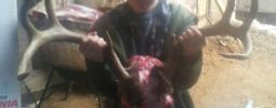 My Grandson Eric Holding the Head of my eight pointer taken with my Knight Vision and Bloodline Bullets.  The Bloodlines were devastating.