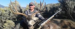 """The 52. Cal. Disc Extreme did the job! hunted this nice buck for 5 days to get within 250 yards.  After a nice stalk He stood up broadside at 215 yards and the rest is history.  30 """" spread on this 183 5/8""""  beast in northern Utah."""