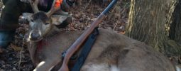 My first deer ever. Hunting with my dad, this buck was on a trot to bed or on a doe...he slowed down enough for about a 50 yard shot with the vintage MK-85 dad bought me six years ago. I use 110 grains of Blackhorn 209  and 240 grain .44 caliber XTP bullet.