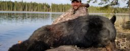 """Jeff B., President of Knight Rifles, muzzleloader hunting this May in Saskatchewan Canada with his good friend Devin Beebe from Timberlost Outfitting. """"I had 17 bears at my stand at one time! A sow and boar started brawling right below me and her 3 cubs came up the tree with me and stayed for more than 2 hours. One of the cubs was actually above me the whole time with his mom circling my tree down below! Talk about a rush."""" """