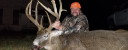 Jeff B. President of Knight Rifles shot this Iowa stud last year with the Knight Mountaineer .45 cal 1:20 twist. The rifle was topped with a Leupold VX3 3x9x50 and he was using the Barnes 195 gr. Red Hot bullet and 110 grains of Blackhorn 209 powder. This buck was entered into the Iowa Deer Classic and was given an official Boone Crockett score of 195 1/8th Gross 186 4/8ths Net.