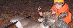 """""""Amazing what a 5 year old can do! Archer Shot this 6 point on 11/21/2009, at the age of 5 with a 50 cal. Knight Wolverine loaded with 50 grains of powder and a 240 grain hornady XTP bullet. The shot was approx 40yrds from a ground blind in McMinn Co. The buck dropped in his tracks.""""Archer Reese, Tennessee"""
