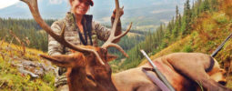 """Prois Hunting employee Katherine Grand with her second bull and first animal taken with a muzzleloader. """"I could not pass on this beautiful bull standing broadside at 50 yards after an epic stalk. My goals this year were to shoot a bigger bull than my first, take a good kill shot with my Knight Ultra-Light .50 Cal Muzzleloader, push myself harder and go farther than I had before. I am happy to say I accomplished these goals and noticed a huge difference physically after all the training and running I've been doing. I am so grateful for the meat in the freezer that will feed our family all year, and the incredible hunt I shared with my husband. Prois was there!!"""