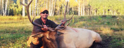 Knight Rifle fan Eric Grand with his first muzzleloader bull taken at 40 yards with his Knight Ultra-Lite .50 cal in Colorado.