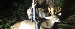 I was hunting on Blueberry Wildlife Club in Eastern NC. I climbed into my ground blind at about 3:30 pm. It wasn't long before my shooting lane was full of small bucks and does. Shortly before dusk, a right decent 9 point buck came out and gave me a broadside shot at over 100 yards. I settled the crosshairs on the buck's shoulder and squezzed  the trigger on my Knight Ultra Lite and down he went. I had killed a doe earlier in the week at 223 yards. I love my Knight!!!