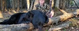 My experience hunting with Timberlost Outfitting was great! We arrived at camp and got to practice shooting targets before the hunt the next day. The stand was in a great place where my dad and I could sit comfortably. Within in the first 30 minutes, we saw a mama bear and 3 cubs. After they left, a big boar walked in that was easily as big as the feeding barrel, I was able to take my shot and got a beautiful bear! Thanks, Devin!