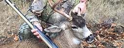 My wife Cristine's SW Oregon Blacktail buck. Taken during the 2015 Applegate Unit muzzleloader only hunt. Her biggest buck to date. 85 yard shot during a driving snow storm. Bighorn NW .50 Cal. rifle
